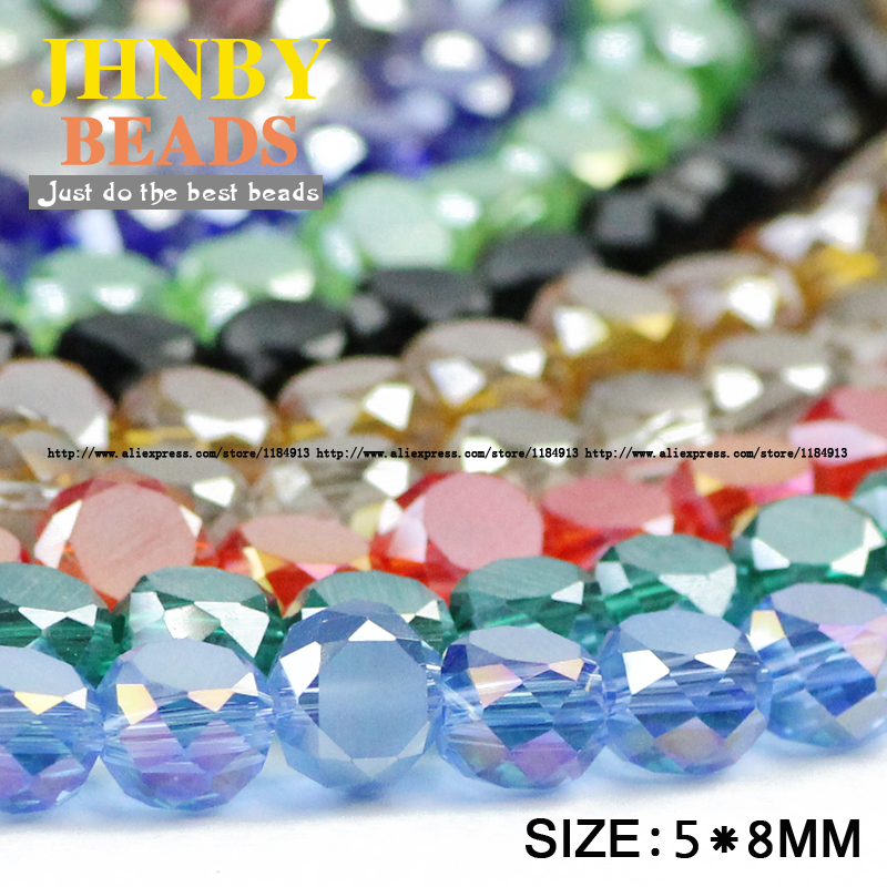 Beads Jewelry & Accessories Nice Jhnby Bread Shape Austrian Crystal Beads 50pcs High Quality 5*8mm Matte Glass Flat Round Loose Beads For Jewelry Making Bracelet