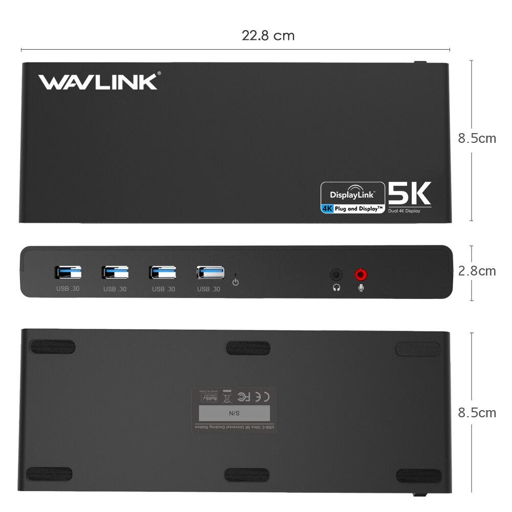 Station d'accueil pour ordinateur portable Wavlink universel 5 K USB-C double affichage 4 K USB 3.0 vidéo Gigabit Ethernet w/HDMI/Displayport pour Mac OS - 4