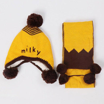 Doitbest 6 months to 3 Y old kids Beanies 2018 Korea boys Knitted hats winter 2 pcs fur inside baby girls winter hat and scarf