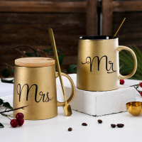 Creative Mr & Mrs Gold Cups Letter Decorative Kitchen Utensil Office Table Drinkware Personalized Gift Ceramic Travel Coffee Mug