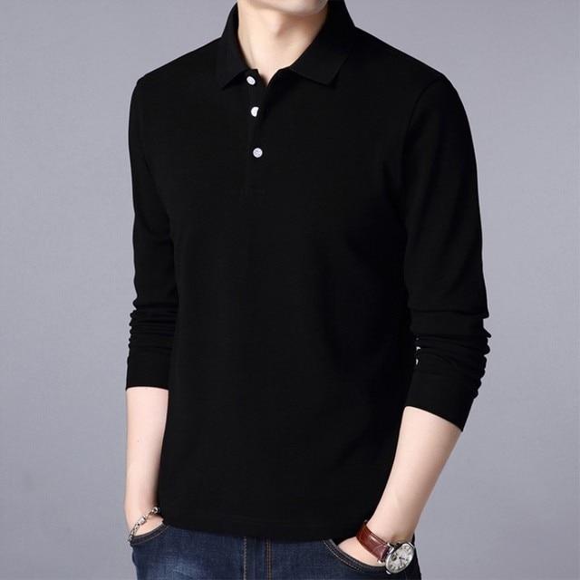 Male Casual T shirt Long Sleeves Turn-down Collar MenSolid Basic T-shirt Men Pure Cotton Long-Sleeve T-Shirts