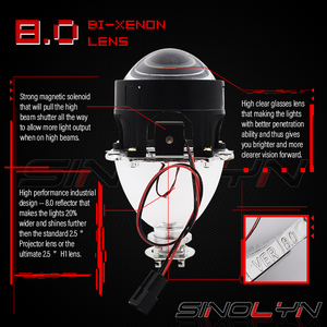 Sinolyn Bixenon Projector Headlight Lenses 2.5'' Mini 8.0 H1 HID For H4 H7 9005 9006 Car Lights Accessories Motorcycle Retrofit