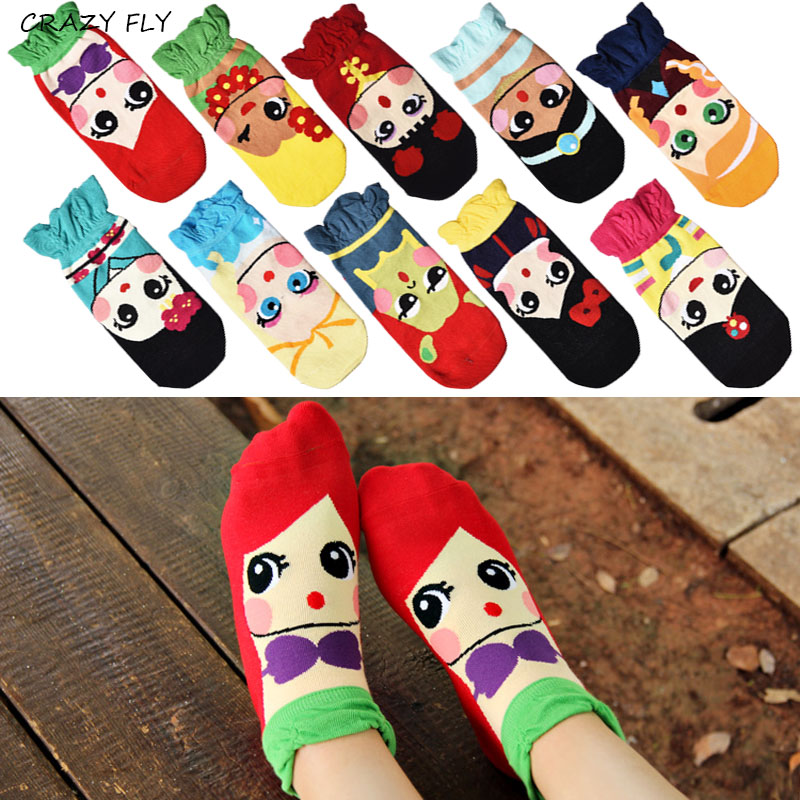 CRAZY FLY kawaii Summer   Socks   Women Girls Cartoon Cotton Ankle   Socks   Princess Anna Elsa Fiolla Jasmine Mermaid Ladies Tube   Socks