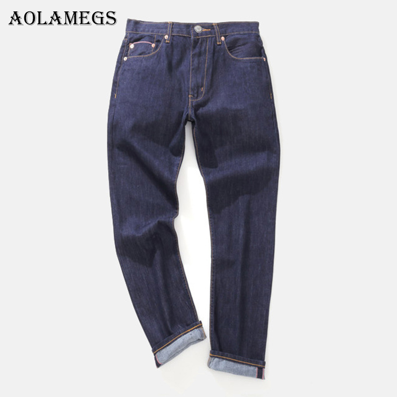 Aolamegs Biker Ripped Jeans For Men Blue Pants Mens Selvage Skinny Jeans Brand Baggy Denim Cotton Trousers Bottoms NEW Fashion 2017 fashion patch jeans men slim straight denim jeans ripped trousers new famous brand biker jeans logo mens zipper jeans 604