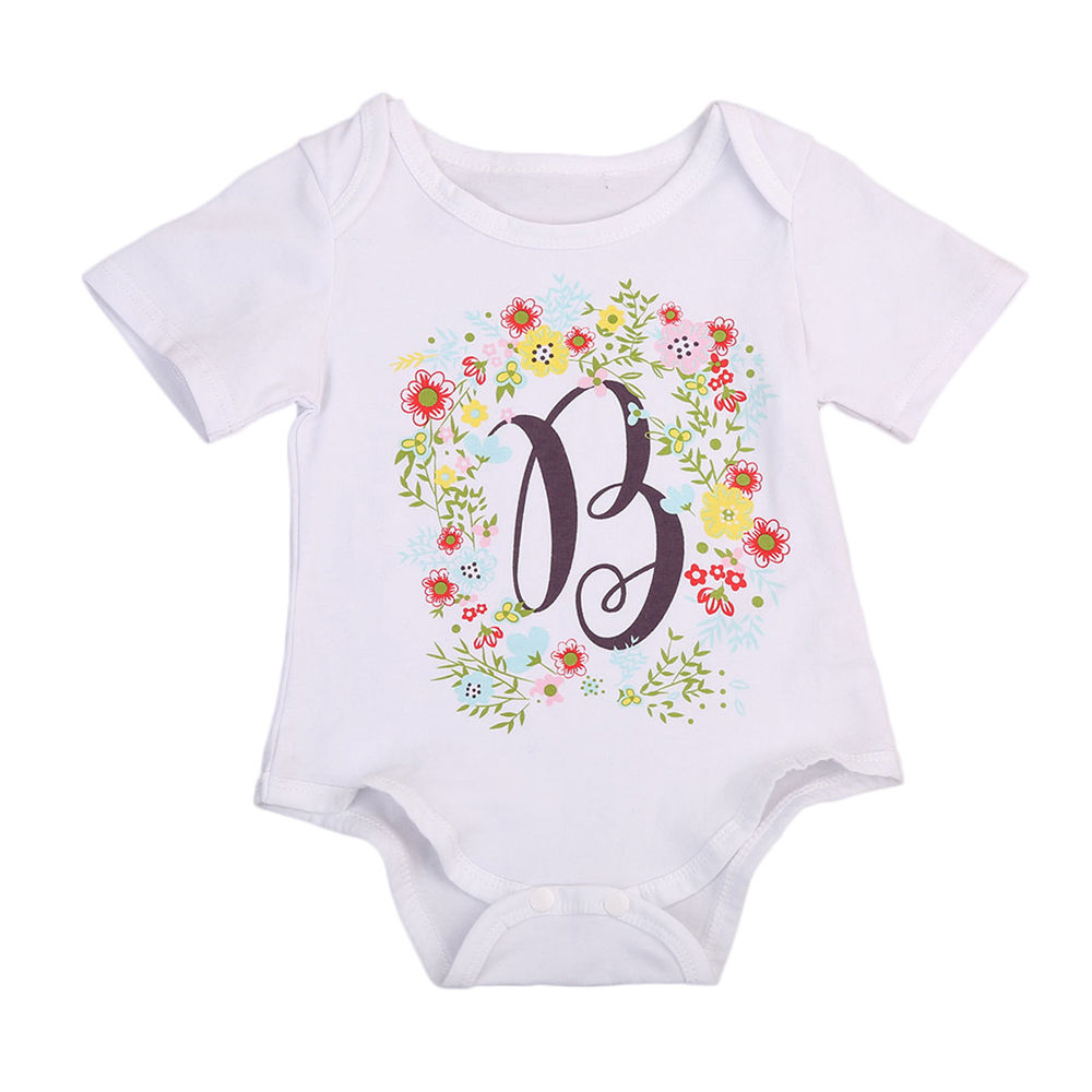 New Cute Summer Romper O-Neck Newborn Infant Baby Unisex Cotton Romper Letter Short Sleeve Jumper Jumpsuit Casual Outfit Clothes