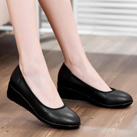 Black Wedge Genuine Leather Woman Work Shoes High Heels Platform Summer 2015 Plus Small Size New