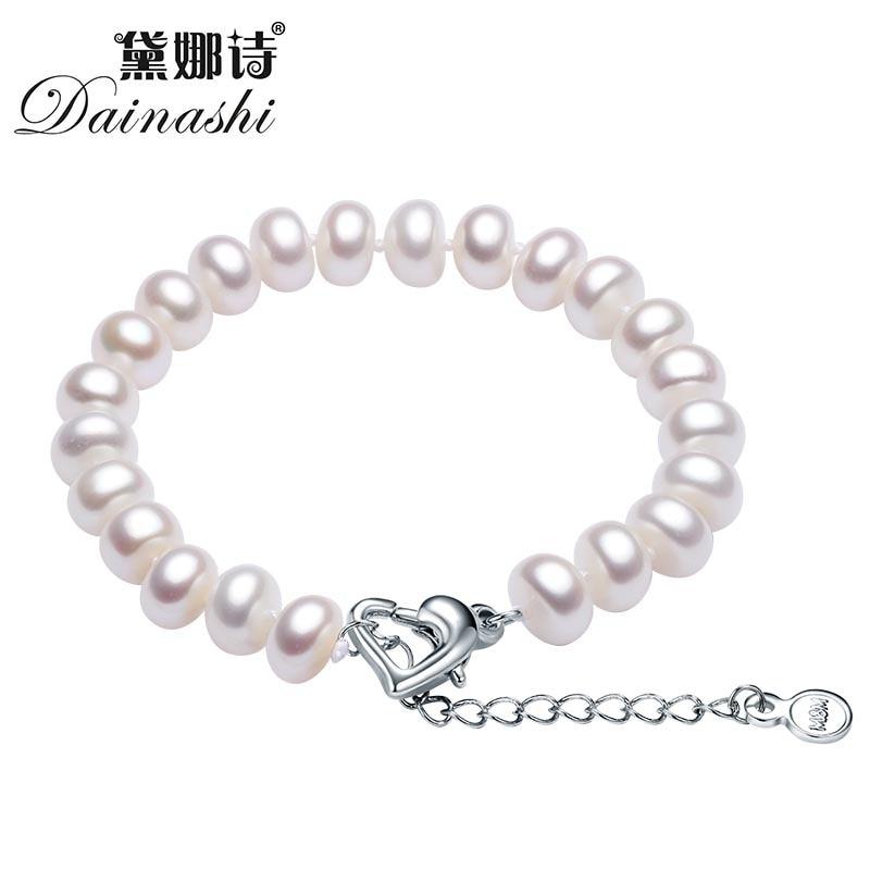 ed9f68aab6cd Dainashi blanco de agua dulce pulsera de perlas para las mujeres 9 10mm  perla natural joyería fina dama buena joyería regalo en Pulseras y  Brazaletes de ...