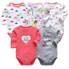 5PCS/LOT Cotton Baby Bodysuits Unisex Infant Jumpsuit Fashion Baby Boys Girls Clothes Long Sleeve Newborn Baby Clothing Set цена 2017