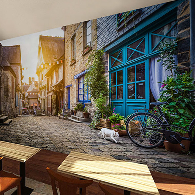 European Style Town Street Painting Background Wallpaper 3D Tea Shop Wine Mural Guest Music Restaurant