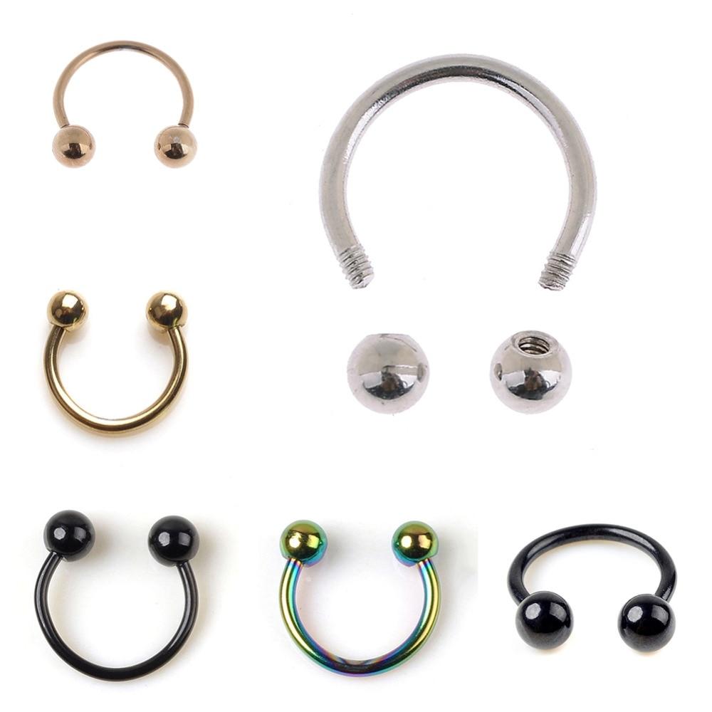 Anodized BLACK Horseshoe Bar Lip Nose Septum Ear Ring ... |Septum Piercing Horseshoe Ring