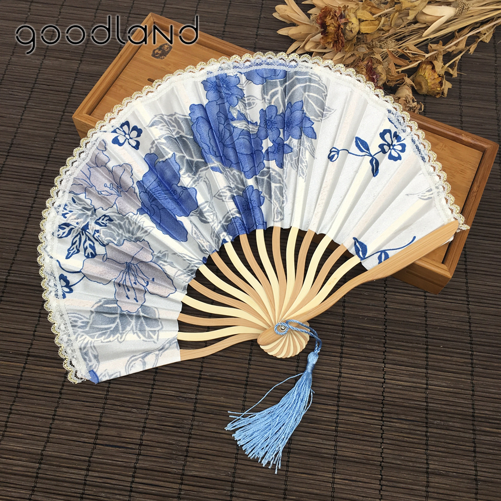 Us 95 01 26 Off Free Shipping Whole 50pcs Lot Lace Edge Cherry Blossom Design Fabric Folding Fan Wedding Invitation Favors In Decorative