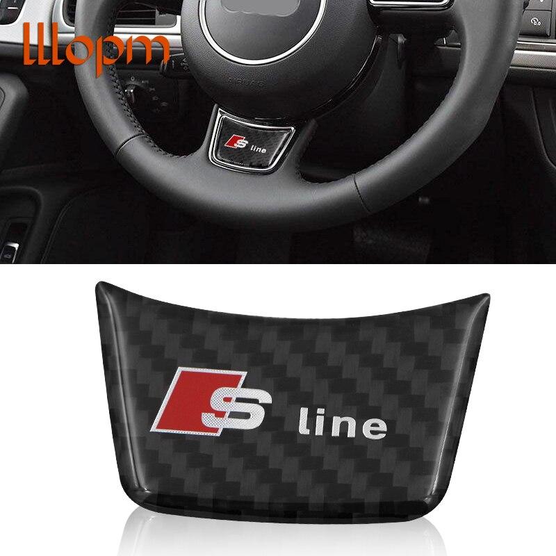 HOT Sline S line Steering Wheel Sticker 3D Carbon Fiber Emblem 3D Car Stickers Car Styling For Audi A4 A5 A6 A7 A8 S4 S5 S6 S8 1 pc lot car styling rs sline s line steering wheel car sticker 3d aluminium alloy steering wheel badge emblem for audi
