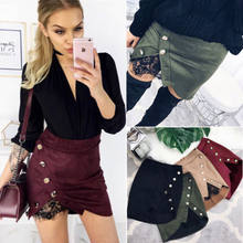 Fashion Women Ladies Solid High Waisted Pencil Skirt Button Bodycon Suede Leather Lace Mini Skirt Women(China)