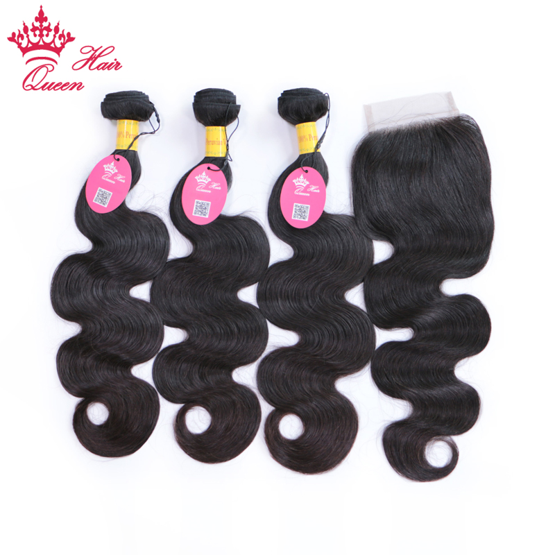Queen Hair Products Peruvian Virgin Human Hair Body Wave 3 Bundles With Lace Closure Natural Color