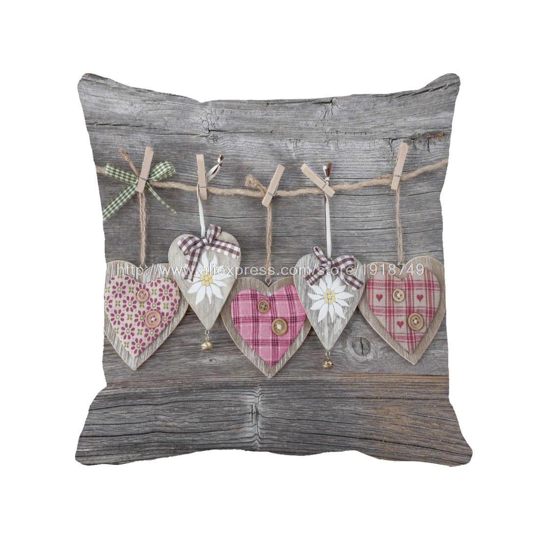 various heart shape printed wooden wedding home decorative cushion covers shabby chic gery throw pillow case for sofa chair