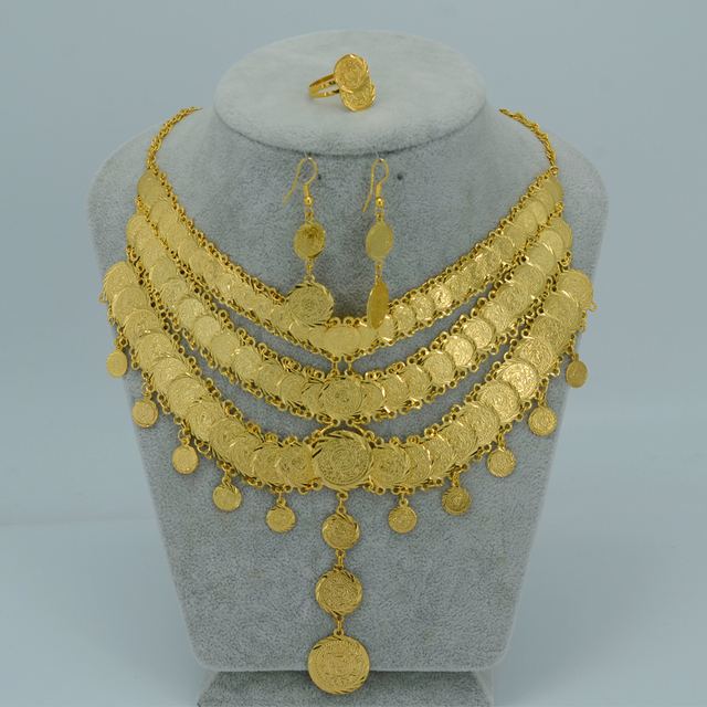 Arab Bride Coin Set Jewelry Necklace Earring Ring Coins  Gold Plated Africa Wedding/Middle East/Iran/Israel/Turkey/Egypt/Iraq
