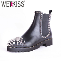 WETKISS Punk Stud Boots Women Round Toe Footwear Leather Female Ankle Boot Fashion Casual Thick Heels Shoes Woman 2019 Spring