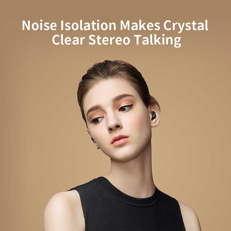 QCY QS2 TWS Mini podwójny V5.0 słuchawki Bluetooth prawdziwe bezprzewodowe słuchawki z mikrofonem 3D dźwięk Stereo słuchawki douszne podwójne mikrofonem okno ładowania