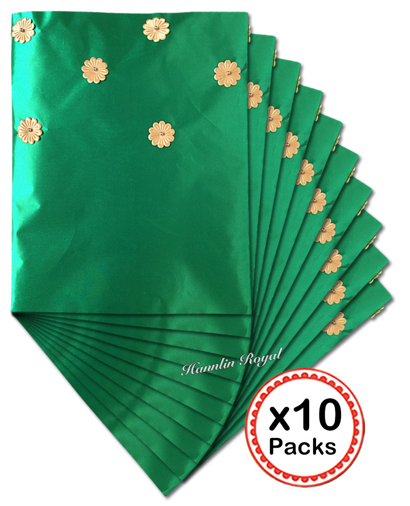 10 packs Lot 20 pieces emerald green African sego headtie Head gele and Ipele headgear scarf
