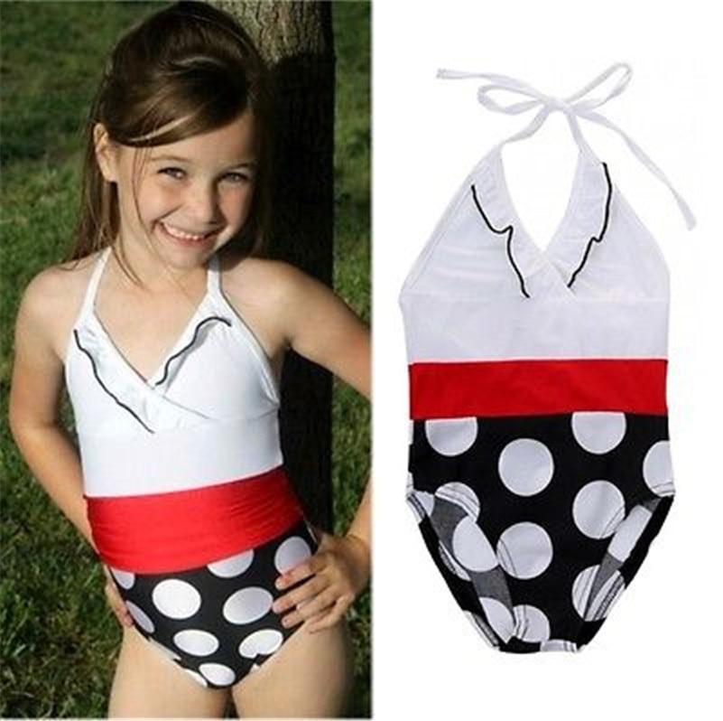 2-7 Years girls swimwear kids swimsuit swimwear kids teenagers girls bathing suits 2017 New print V-nack girls swimwear dropship