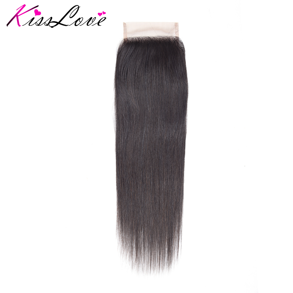 Brazilian Straight Lace Closure 4*4 Free&Middle Three Part 120% Hand Tied Swiss Lace Remy Human Hair Closure Free Shipping