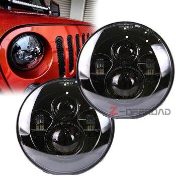 "2pcs/pair 7"" Black Led Hi/Lo beam offroad driving headlight bulb replacement lamp projector lighting for Jeep Wrangler JK TJ LJ"
