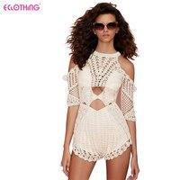 Women's Handmade Crochet Playsuit Romper Overalls Sexy Summer Backless Jumpsuit Clubwear Beach Party Short Romper