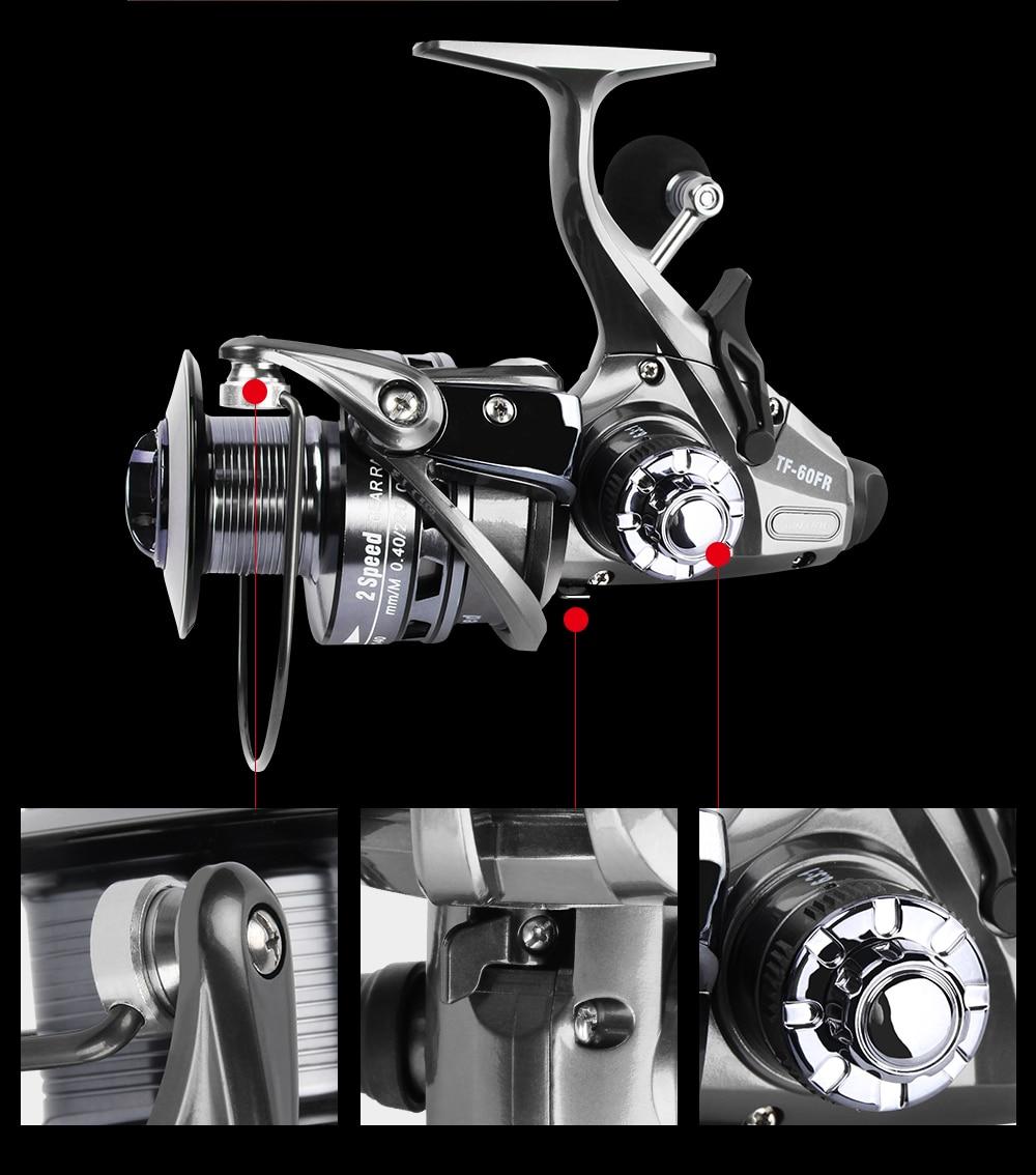RoseWood 2 Speed 6.31 4.31 Front And Real Dual Braking Spinning Reel 12+1 S.S Bearings Carp Fishing Reels + Spare Spool  (9)