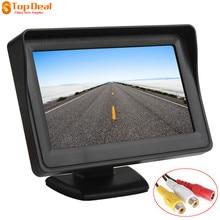 4.3 pulgadas TFT LCD de Coches Vista Trasera Del Monitor Retrovisor Del Coche de Aparcamiento Monitor 2 de Entrada de Vídeo para Cámara de Marcha Atrás de copia de seguridad de DVD de Alta Definición