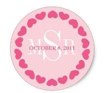 1.5inch Circle of Love Wedding Monogram Favor Sticker