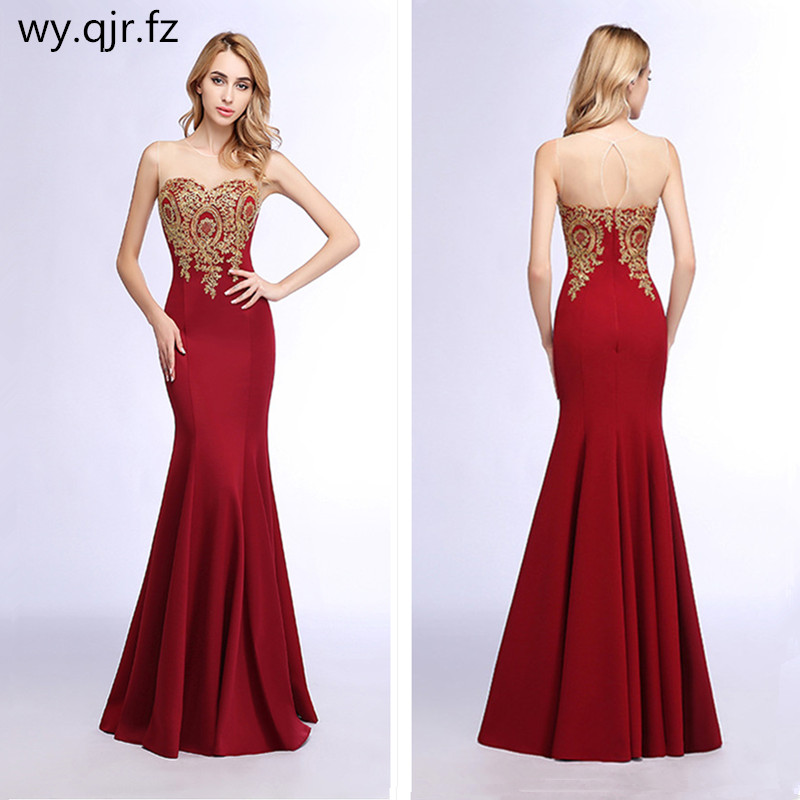 HXTX#Wedding Party Dres Toast Gown Prom New Winter 2018 Sexy Fishtail Wine Long Lace Bridesmaid Dresses Wholesale Women Clothing