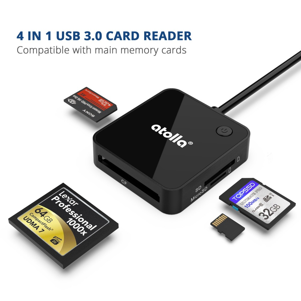 Image 5 - atolla SD Card Reader, USB 3.0 memory card reader adapter with 4 card slots for SD, SDHC, SDXC, TF, CF, MMC, MS and more-in Card Readers from Computer & Office