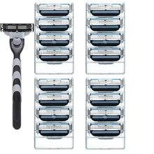 1 Holder+N Razor Blade Men Face Care 3 Layers Razor Blades Replacement Blades Male Manual Razor Blades цены