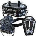 Steampunk vampiro gótico hueso bolsa esqueleto cráneo ataúd caja de cadena de las mujeres crossbody bolsos rpo6 bat cosplay harajuku bolso de mano
