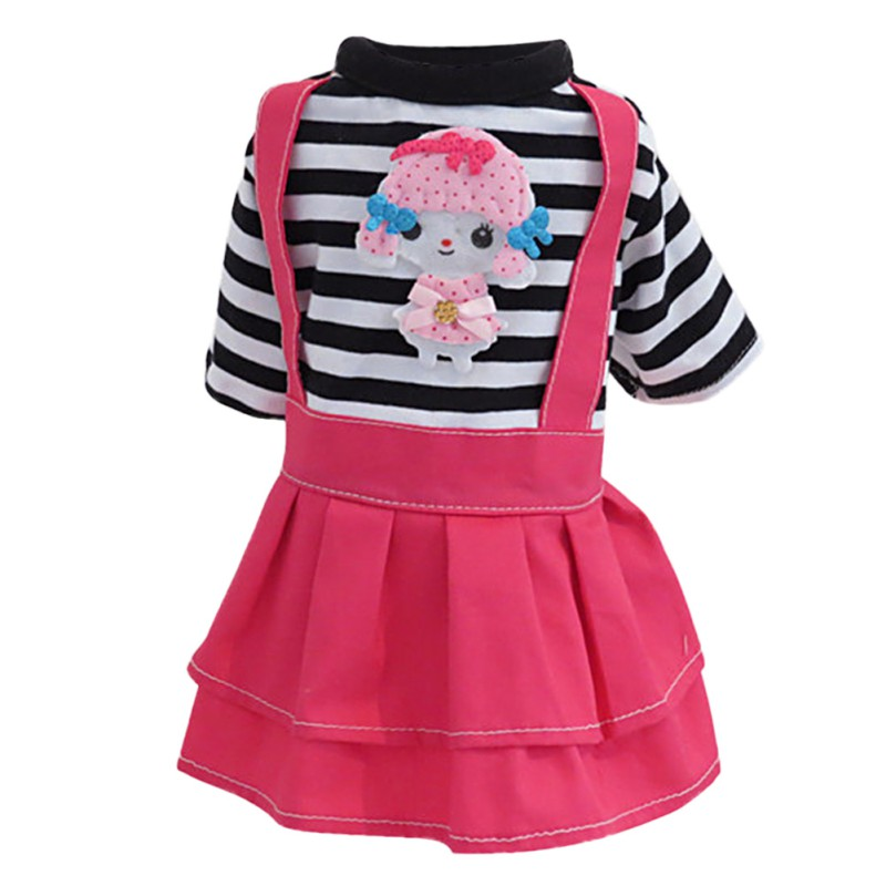 Spring And Summer Teddy Clothing Dot Puppy Dress Cartoon Pink Stripe Pet Skirt Dog Pet Clothes Puppies