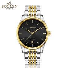 Top Brand Sollen Etiquetas Reloj de Los Hombres de Lujo de oro + negro Relojes Mecánicos de Los Hombres de Moda de acero inoxidable calendario Relojes Montre