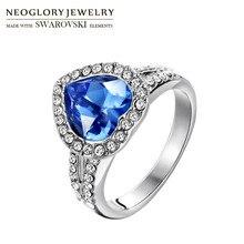 Neoglory Austria Rhinestone & Crystal Finger Ring Blue Love Heart Design For Women Elegant Stylish Gift Romantic Classic Sale