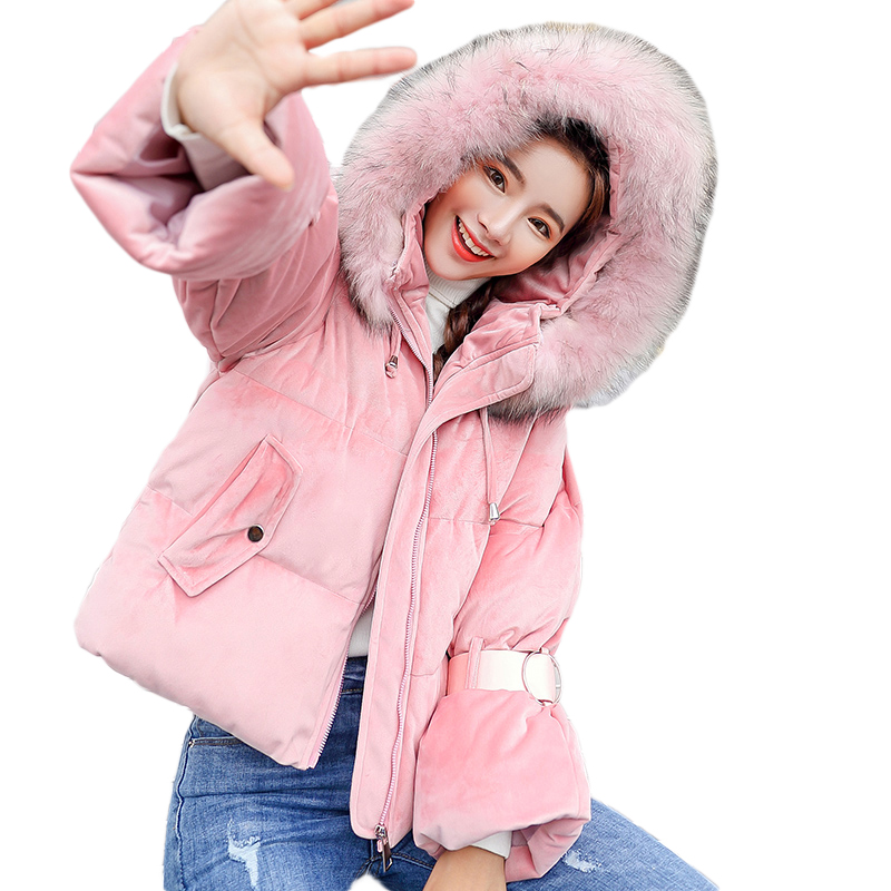 Girl Sweet Hooded Winter Jacket Women 2018 Large Warm Fur Collar Short Down Cotton Parkas Ladies Loose Bread Coats Outwear D035