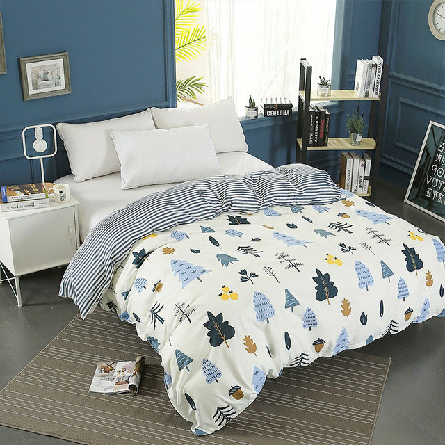 New 100 Cotton Duvet Cover King Size Cartoon Christmas Tree White Quilt Cover 1pc Twin Full Queen Comforter Cover Soft Bedcloth In Duvet Cover From