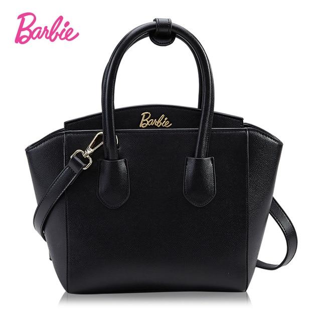 a90fdfde5 Barbie mujeres mano Bolsas individualidad moda negro Bolsos de hombro para  las niñas remache pu cuero