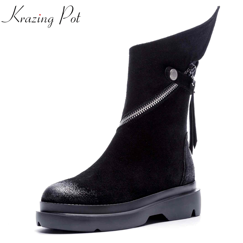 Krazing Pot 2018 cow suede wedges med heels black color European round toe metal buckle zipper runway model Chelsea boots L6f6 krazing pot 2018 new arrival sheep suede thick med heels women hollow decoration pumps buckle poined toe model runway mules l61