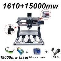 15W CNC1610 Laser Engraving Machine Blue Laser 500mw 1500mw 5500mw 15000mw Wood Router PCB Metal Wood Carving Machine DIY GRBL
