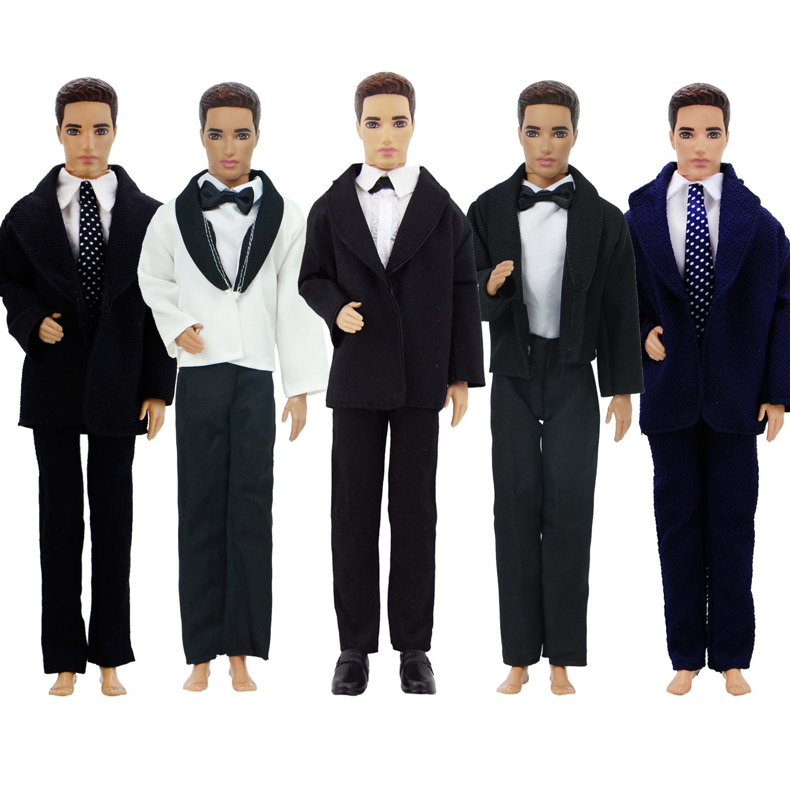 Handmade Doll Accessories Men Outfit Shirts + Coat + Trousers Tie Bow Formal Suit Tuxedo