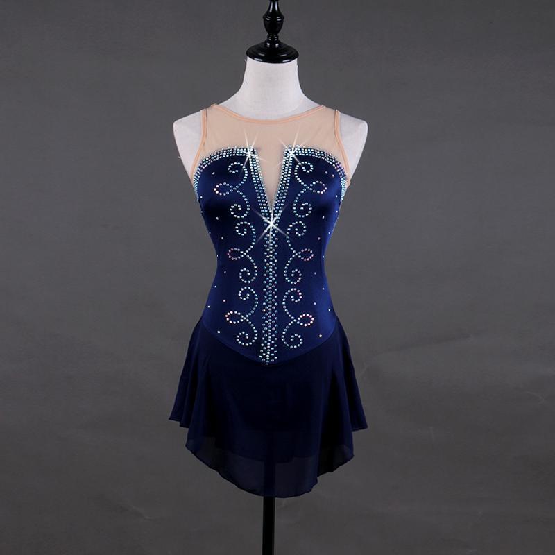 Платье для фигурного катания женское платье для катания на коньках Тонкая леска со стразами узор темно синий без рукавов тянущиеся ткани