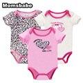 Bodysuits do bebê 3 pcs 100% algodão corpo infantil bebes clothing define macacão impresso do bebê da menina do menino bodysuits de manga curta