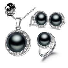 FENASY Negro Natural Blanco Perla Pendientes Colgantes, 2016 Nueva Moda Joyería Conjuntos De Perlas Naturales, partido Sistemas de La Joyería, caja de joyería