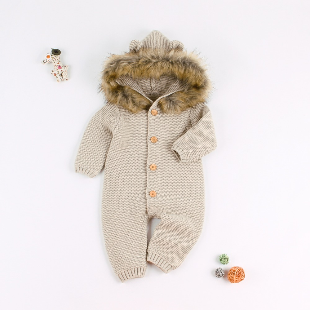 Winter Warm Jumpsuit for Newborns Bebes Rompers Solid Knitted Infant Boy Girl Overall Autumn Hooded Long Sleeve Children ClothesWinter Warm Jumpsuit for Newborns Bebes Rompers Solid Knitted Infant Boy Girl Overall Autumn Hooded Long Sleeve Children Clothes