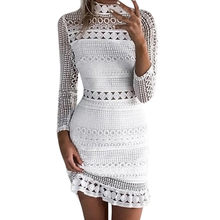 Womens White Lace Jurk Sexy Hallow Out Bodycon Jurk 2018 Lente Zomer Lange Mouwen Stand Neck Mini Jurken # L(China)