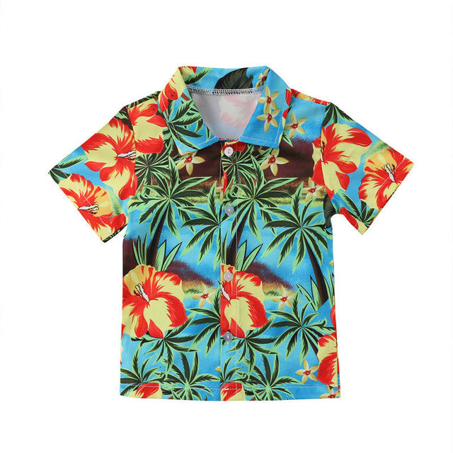 b8759240e87b40 Hawaii Stijl Jongens Shirts Zomer kokospalm Print Kid Meisjes Shirt Casual  Peuter Jongens Shirts Tops Kleding