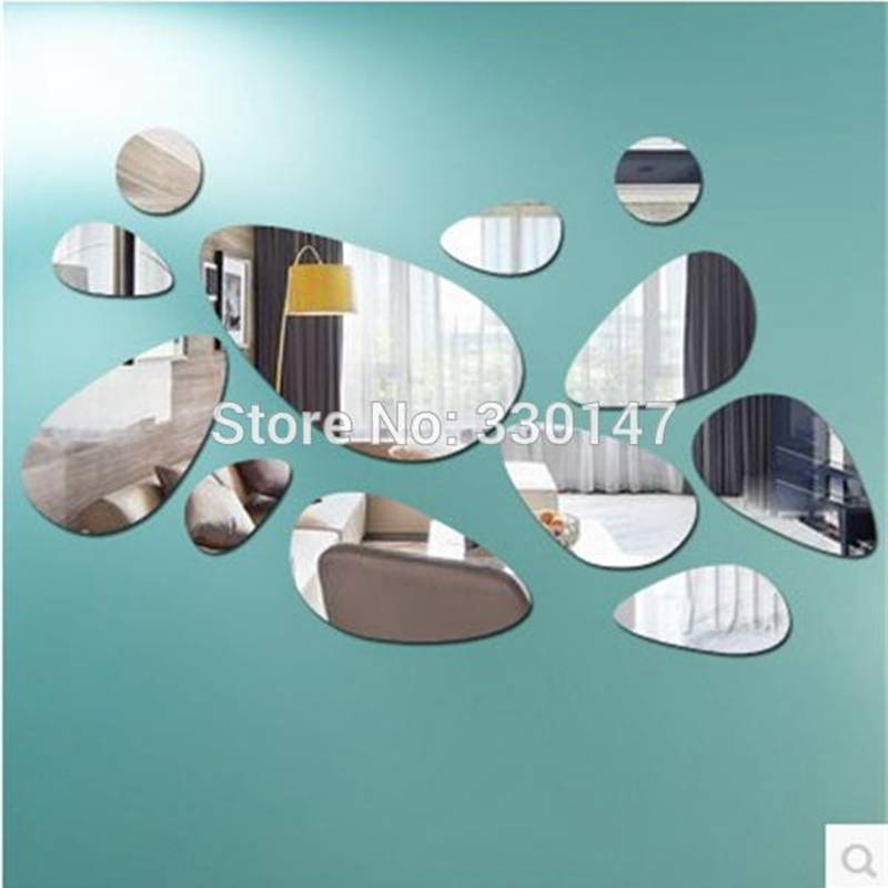 Oval Design Acrylic Wall Sticker Home DIY Frameless Abstract Background Decorative Mirrors with Gum Direct Selling